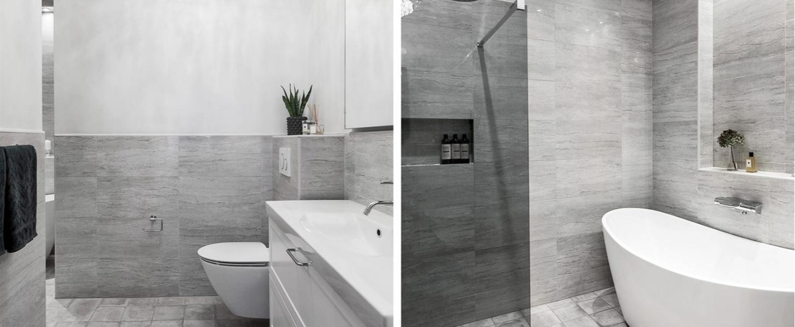 Lyxig badrum i tålig granitkeramik.
